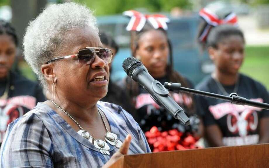 State Sen. Marilyn Moore, a graduate of Central High School, speaks at the ribbon cutting ceremony for the newly renovated Central High School, in Bridgeport, Conn. Aug. 31, 2018. — Ned Gerard photo