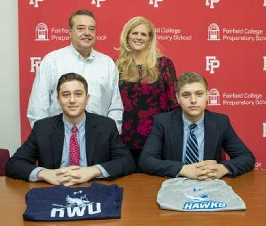 Dan and Matt with parents Cal and Christine Massaro.