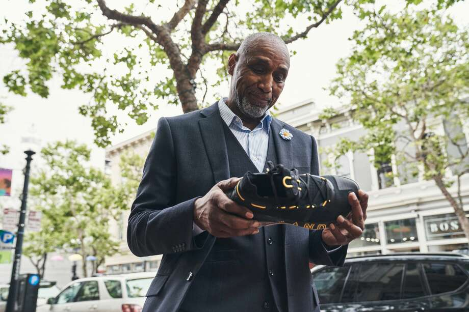 Ralph Walker, Stephen Curry's now-retired personal security guard, receives his Curry 6 shoes. Photo: Under Armour