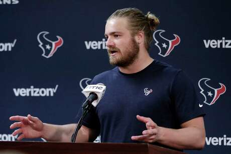 Houston Texans rookie fullback Cullen Gillaspia during a press conference after an NFL football Organized Team Activity workout Tuesday, May 21, 2019, at the team practice facilities in Houston. (AP Photo/Michael Wyke)