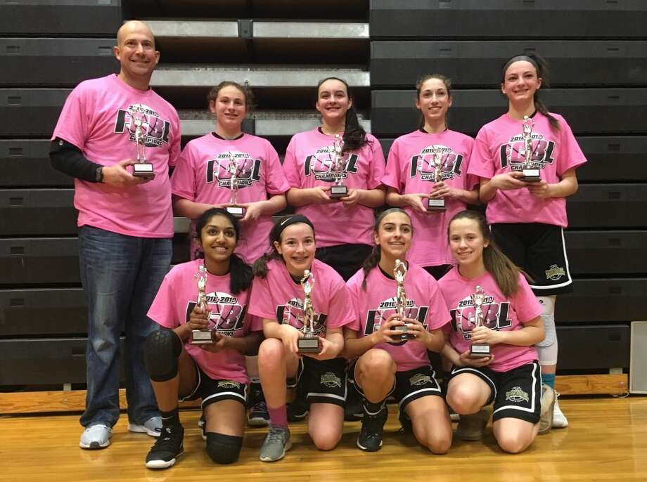 Trumbull also won the C Southwest Division regular-season title (10-0) and finished the season with a 26-9 overall record. Team members (front row) are: Reshma Kode, Maura Carbone, Olivia Cunha and Shea Hanna; (second row) head coach Al Carbone, Sheridan Oberhand, Lianna Weaver, Gabby Margolies and Emma Turiano.