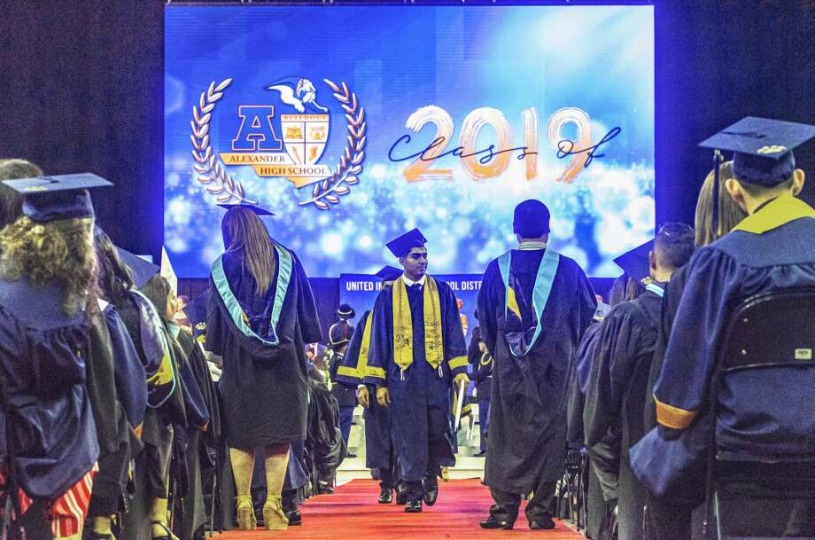 The Alexander High School class of 2019 receive their diplomas on Friday, May 31, 2019, during the schools graduation ceremony at the Sames Auto Arena. Photo: Danny Zaragoza/Laredo Morning Times