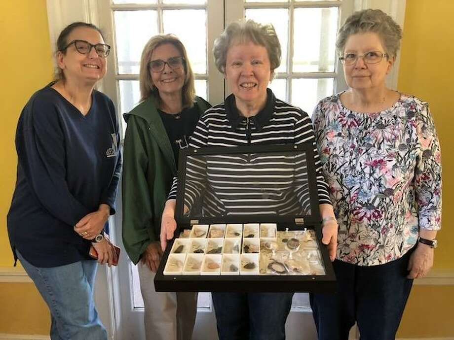 From left, Katalin Berger, Kathy Iaccarino, Maureen Klein and Ellen Klein, members of the Archives Committee, display some of the Projectile Points that will be on display at the West Haven Historical Society this weekend. Photo: Contributed Photo