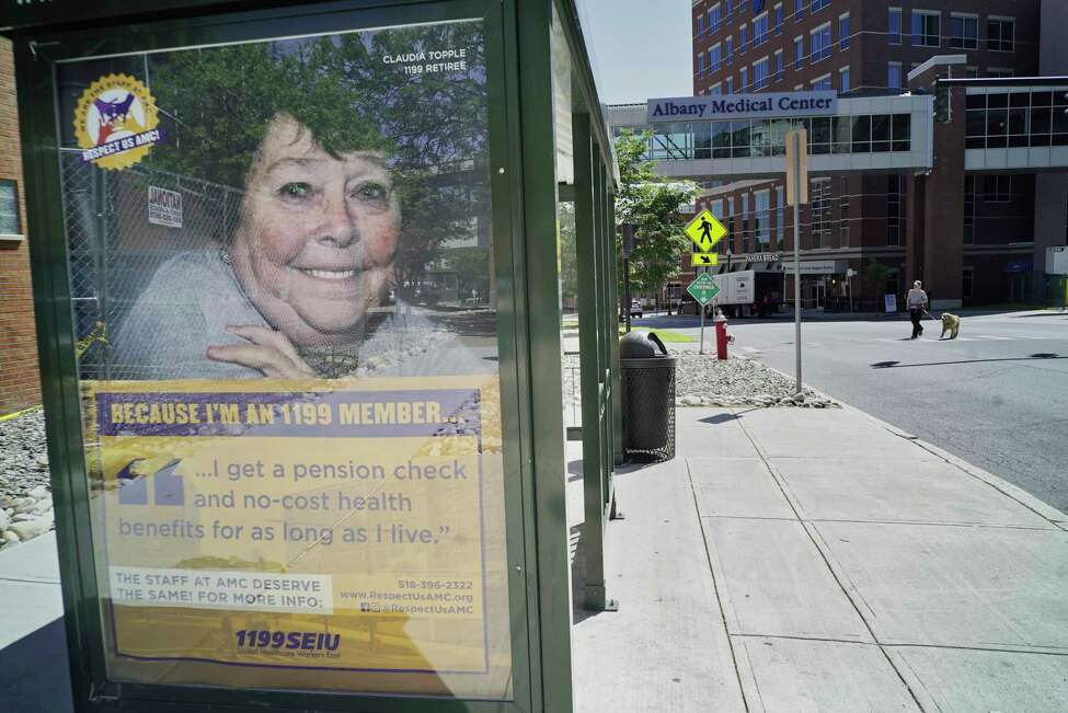 A view of an advertisement for a medical union on a bus shelter outside of Albany Medical Center on Tuesday, June 4, 2019, in Albany, N.Y. (Paul Buckowski/Times Union)