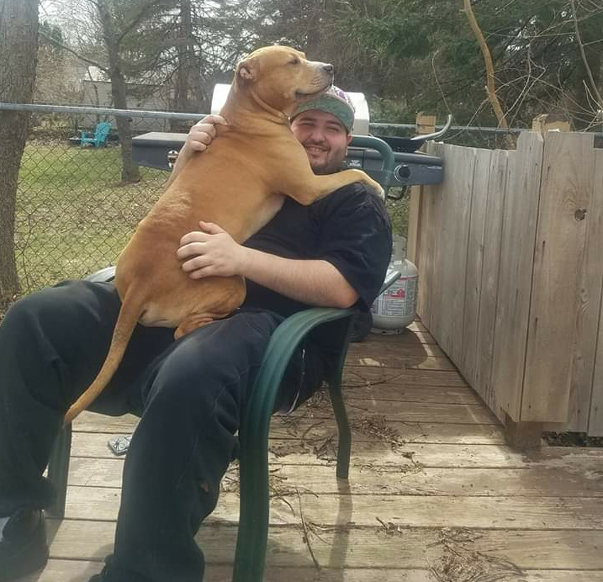 Salvatore DiNovo in an undated photograph, with Styles, one of the two dogs he owns that Schenectady police said attacked his niece at their home on Clayton Road in Schenectady.