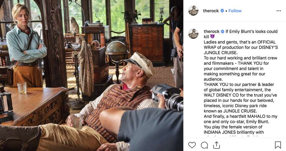 "Dwyane Johnson shared a photo from the set of ""Jungle Cruise."" Photo: Dwqayne Johnson Via Instagram"
