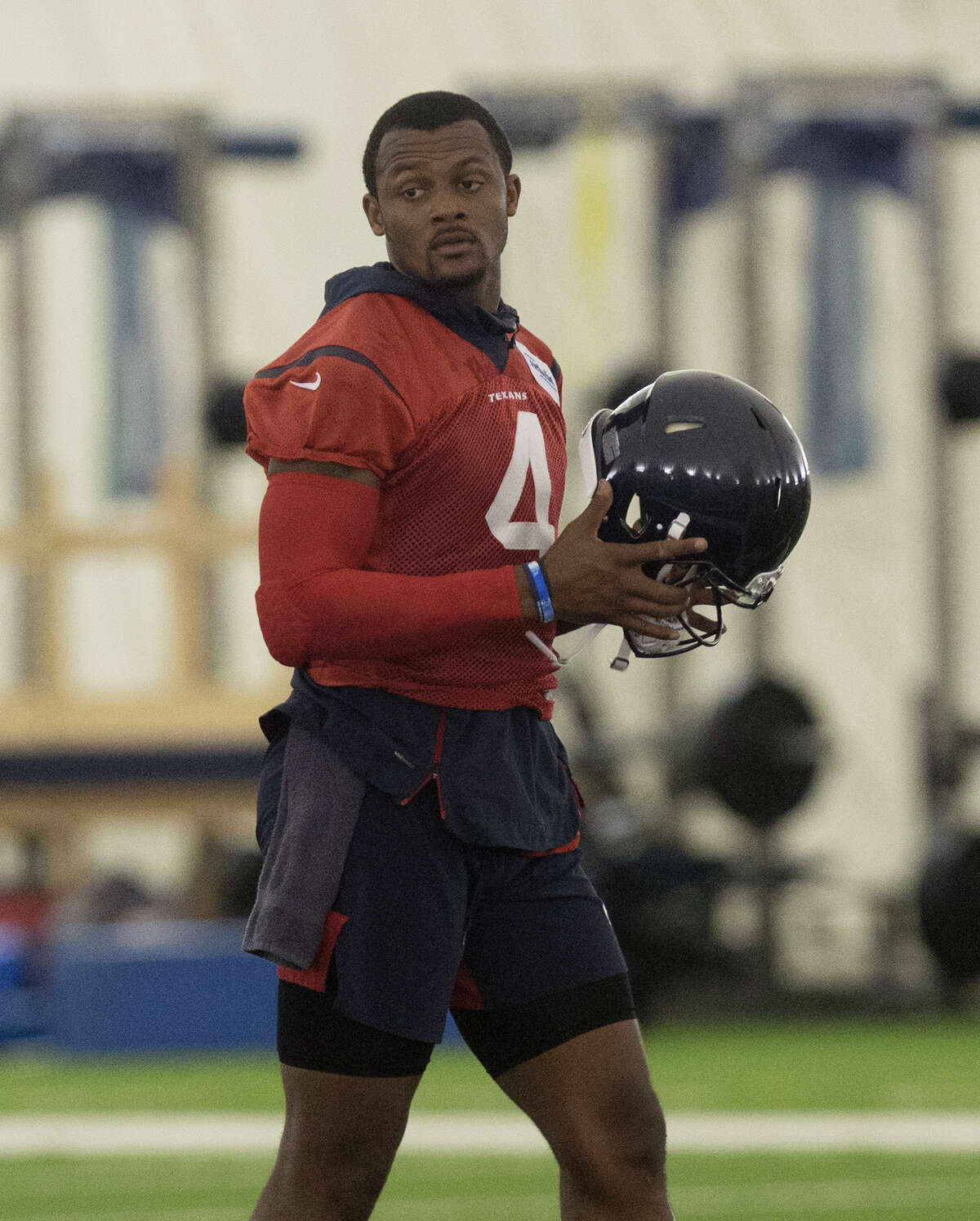 Houston Texans Quarterback Deshaun Watson during an OTA session at the Houston Methodist Training Center on Tuesday, June 4, 2019, in Houston.