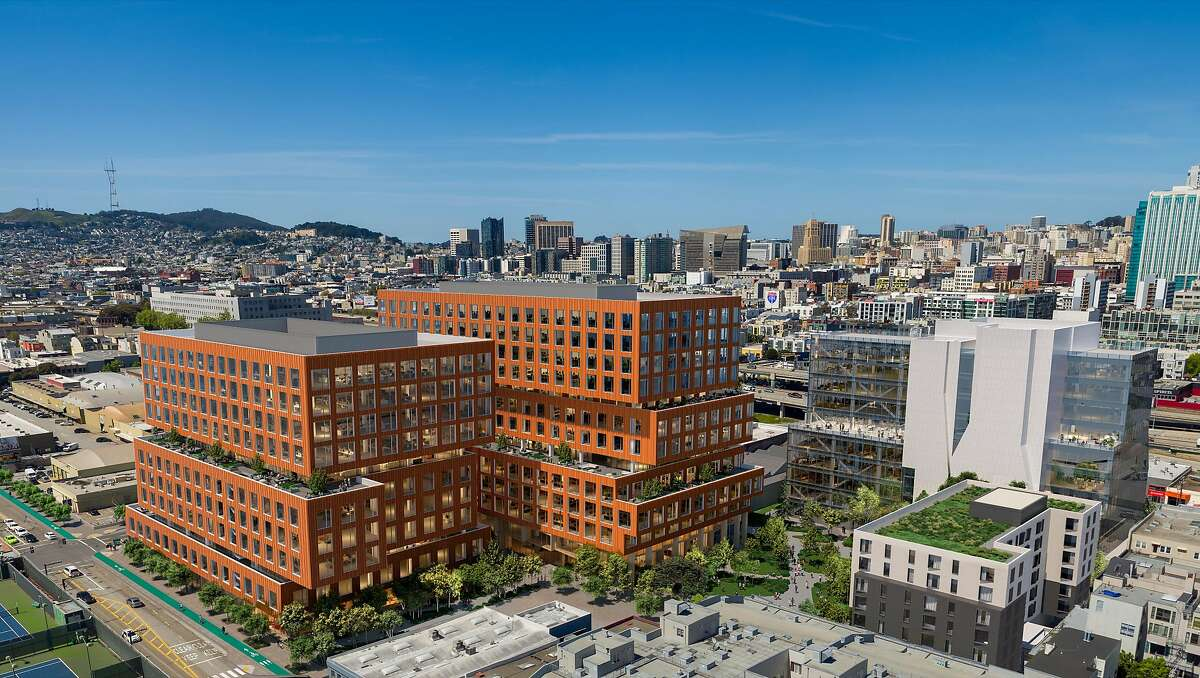 An artist's rendering of Tishman Speyer's Central SoMa office project planned at�Fifth and Brannan streets.