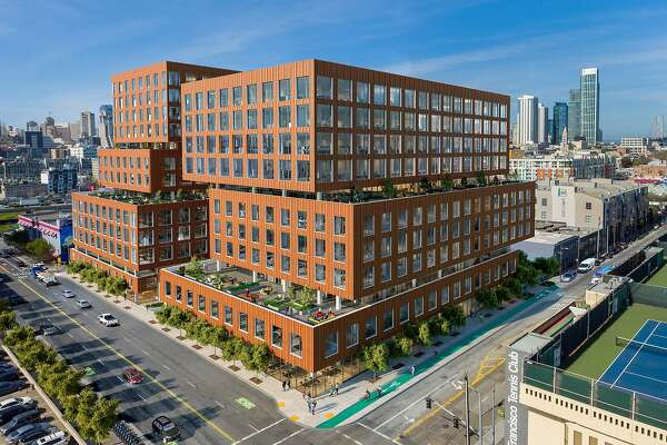 An artist's rendering of Tishman Speyer's Central SoMa office project planned atFifth and Brannan streets.