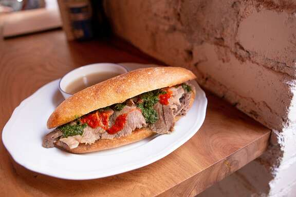 The first lunch sandwich from Verjus is a French dip.