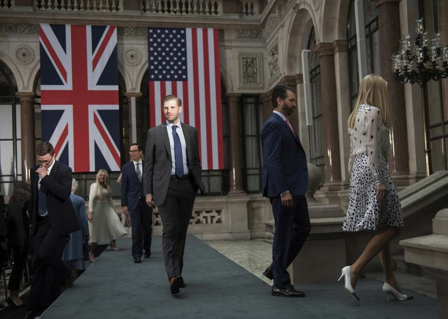 Eric Trump, Donald Trump Jr. and Ivanka Trump attend a joint press conference between US President Donald Trump and Prime Minister Theresa May at the Foreign & Commonwealth Office during the second day of the President's State Visit on June 4, 2019 in London. Photo: WPA Pool/Getty Images