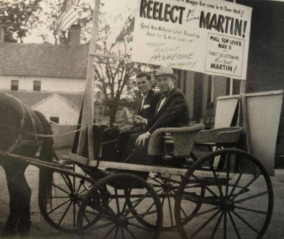 "Election times from the 1950s looked a bit different than they do today. Above, M. Joseph Lillis Jr., left, and E. Paul Martin take a ride around town as they share Martin's campaign message in 1959 in New Milford. If you have a ""Way Back When"" photo you'd like to share, contact Deborah Rose at drose@newstimes.com or 860-355-7324. Photo: Courtesy Of E. Paul Martin's Family / The News-Times Contributed"