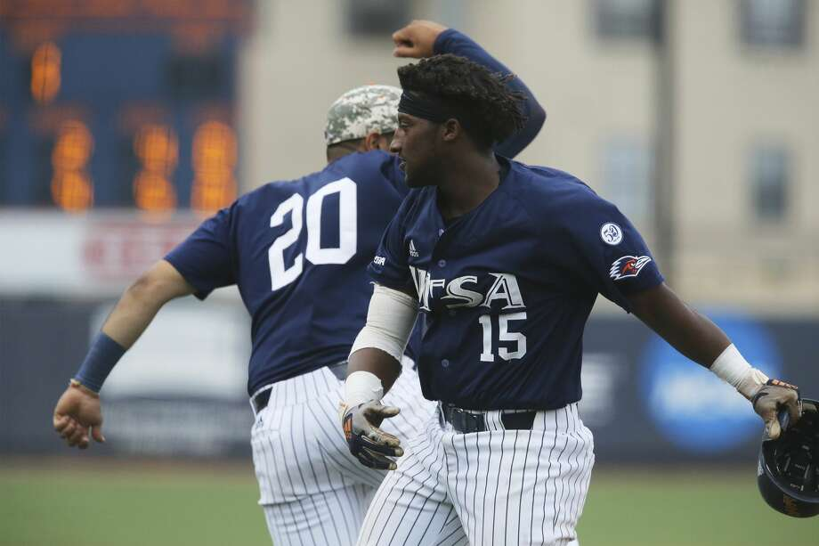 PHOTOS:Former Houston high school stars taken in the 2019 MLB Draft UTSA's Bryan Sturges (15) celebrates his two-run homer in the third inning with teammate Karan Patel (20) against Texas State during their baseball game at UTSA on Tuesday, Apr. 30, 2019. (Kin Man Hui/San Antonio Express-News) >>>Seewhere former players who went to Houston area high schools ended up in the 2019 Major League Baseball Draft ... Photo: Kin Man Hui/Staff Photographer
