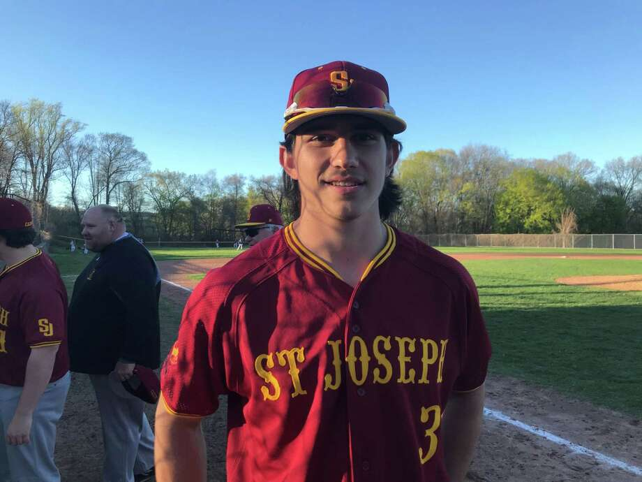 St. Joseph centerfielder Stephen Paolini after beating Westhill on April 24, 2019. Photo: Scott Ericson / Hearst Connecticut Media / Connecticut Post