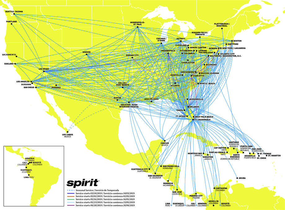 Spirit Airlines bright yellow planes fly from Oakland to Los Angeles, Las Vegas, Chicago, Detroit and Houston. Photo: Spirit Airlines