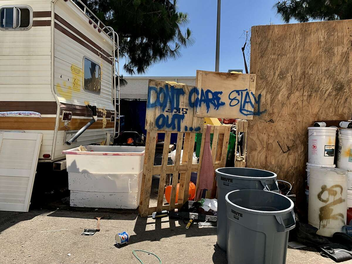 A RV is parked at 37th Ave. and E. 8th St. near a Home Depot in Oakland, Calif., on Tuesday, June 4, 2019. The Home Depot, located at 4000 Alameda Ave., may pull out of its Oakland store unless the city can curb the crime, tent and RV encampments that have overtaken the area.