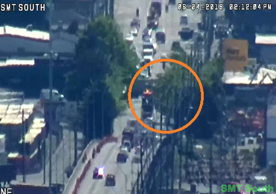 Seattle police activity blocking all southbound lanes of Fourth Ave South from South Nevada Street to South Dawson Street after a man reportedly shot himself in the leg on a King County Metro bus. Photo: Seattle Department Of Transportation