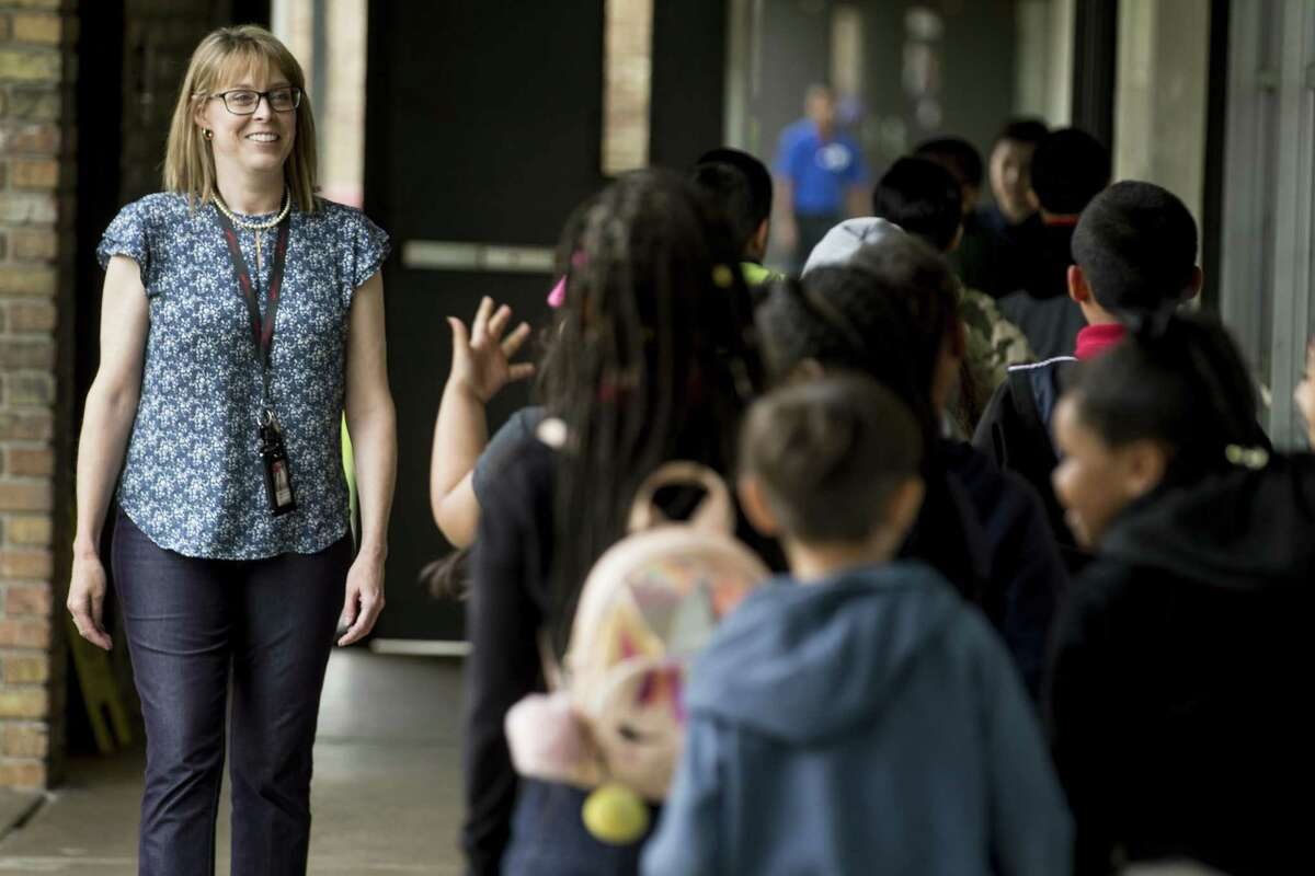 Rachel Velotas walks with her third grade class to lunch at Goodman Elementary School on Tuesday, April 23, 2019, in Houston. Two of Aldine ISD's longest-struggling elementary schools will be the first in the greater Houston area to pilot a program aimed at aggressively turning around academic performances next year. The Accelerated Campus Learning program, or ACE, has been credited for improving student outcomes at several Dallas ISD schools and others in North Texas.