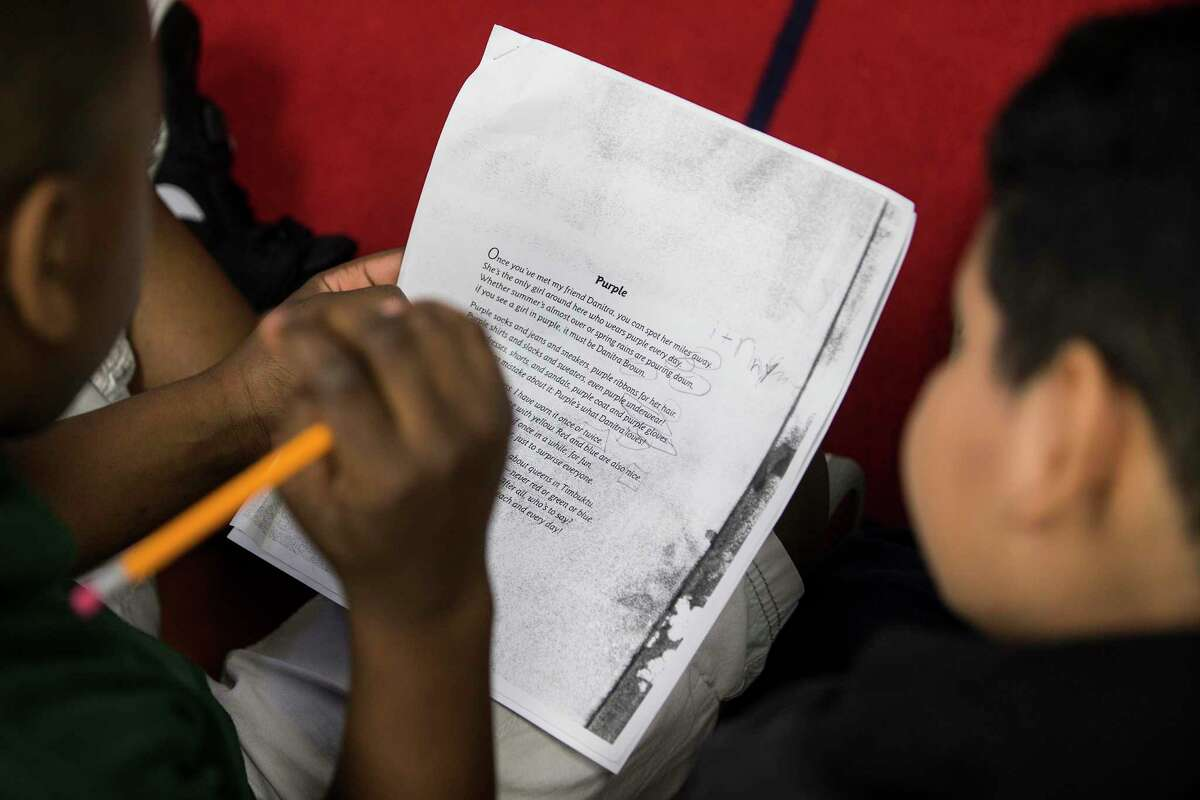In April, third graders at Goodman Elementary worked on a poetry assignment. With support from Good Reason Houston, Goodman, one of two Aldine ISD's longest-struggling elementary schools, will pilot the Accelerated Campus Excellence program.