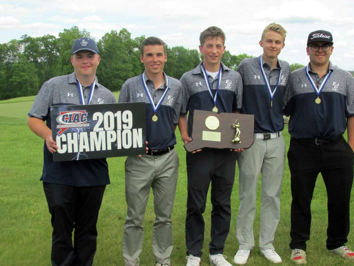 East Catholic High School winners of the CIAC Division III Golf Tournament Tuesday, June 4, 2019 at Fairview Farm Golf Course are, left to right: Mike Walling, Heath Olivieri, Colin Luca, Ryan Zurcher and Kenny D'Attilio.