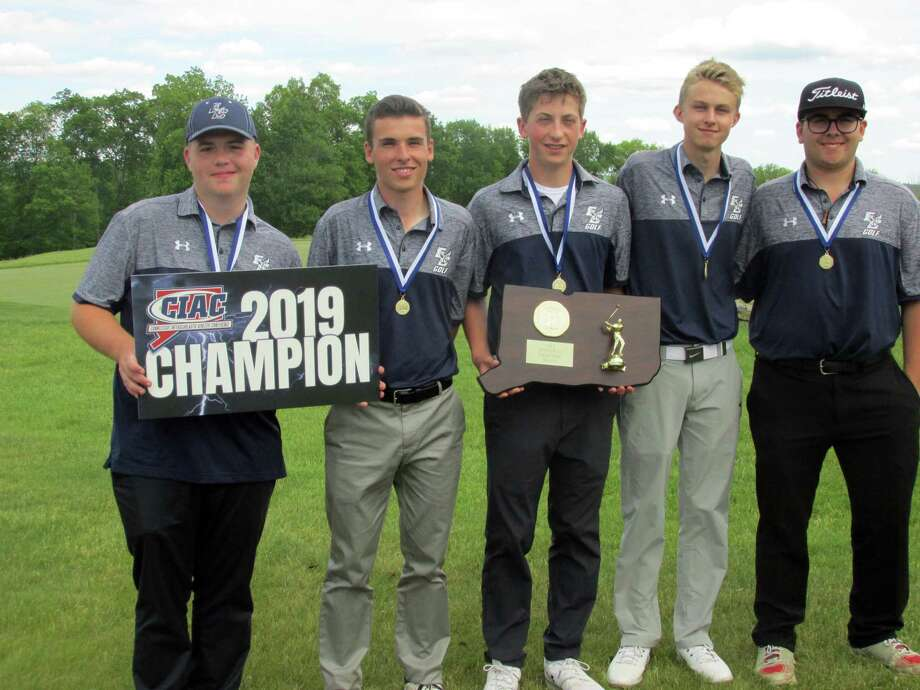 East Catholic High School winners of the CIAC Division III Golf Tournament Tuesday, June 4, 2019 at Fairview Farm Golf Course are, left to right: Mike Walling, Heath Olivieri, Colin Luca, Ryan Zurcher and Kenny D'Attilio. Photo: Peter Wallace / For Hearst Connecticut Media / Stamford Advocate Freelance