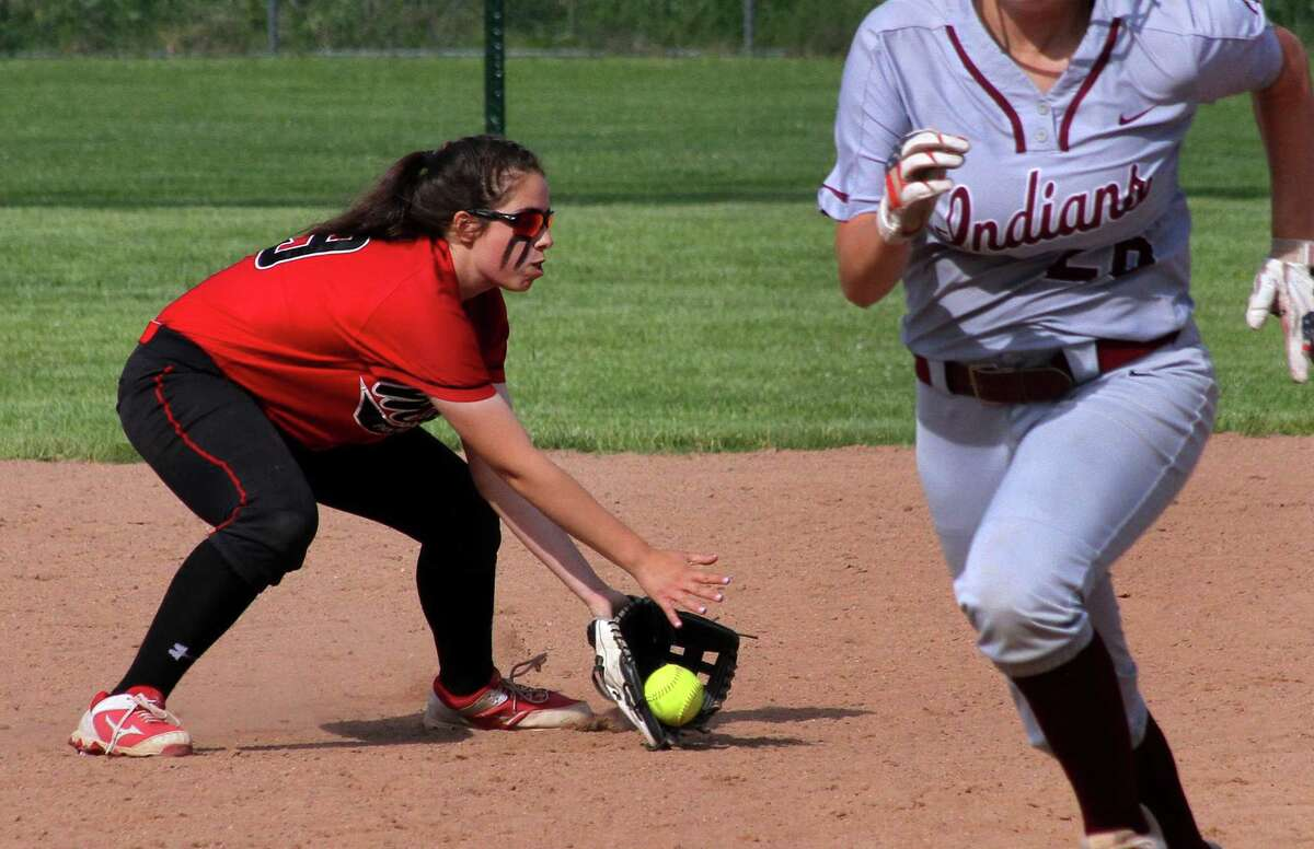 Masuk's Kaitlyn Welch grabs a North Haven grounder during Class L softball action on Tuesday in Stratford.