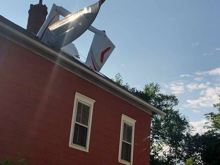 An image of the glider that crashed through the roof of a Golden Hill Avenue home in Danbury, Conn., on June 4, 2019. Photo: Contributed Photo / Mark Boughton