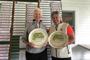 Anne Van Buren, left, of Pinehaven, and Mary Ellen Burt of Mohawk took low net honors at the Sarah Hunter Spring Classic in Manchester, Vermont, on June 2, 2019. (Joyce Bassett / Times Union)