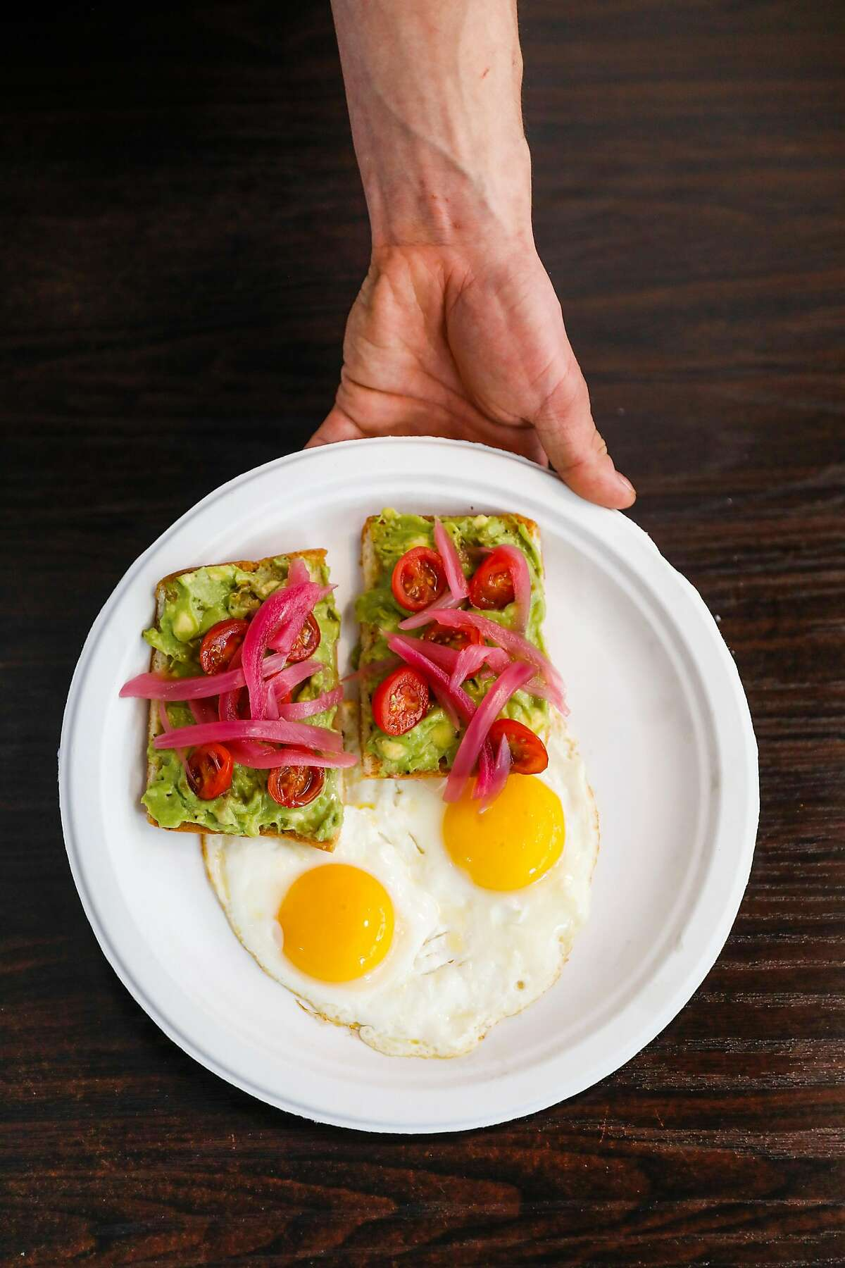 The avocado toast at Delegates restaurant in Oakland, California, on Tuesday, June 4, 2019.