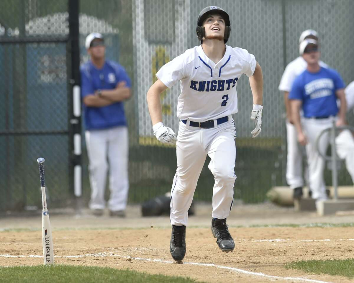 Waterbury, Connecticut - Tuesday, June 3, 2019: Amity H.S. vs. Southington H.S. during the CIAC Class LL 2019 State Baseball Tournament Semifinals Tuesday at the Municipal Stadium in Waterbury. Southington H.S. defeated Amity H.S. 3-2.