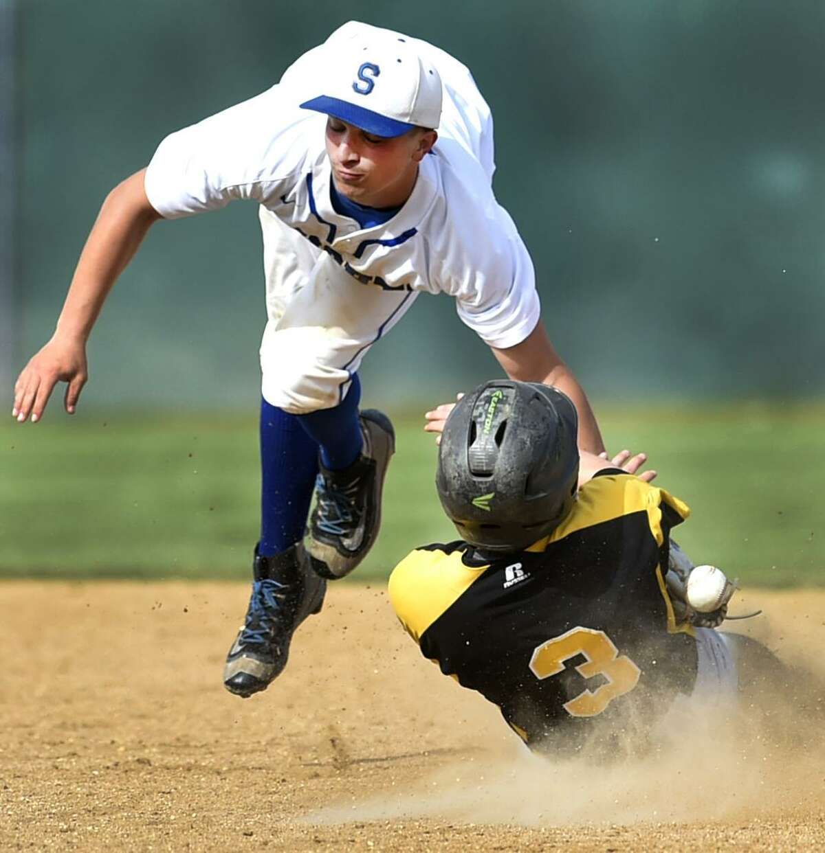 Waterbury, Connecticut - Tuesday, June 3, 2019: Bryce Worth of Southington H.S., left, can't control the ball, left, as Peter Spodnick of Amity H.S. slides into second base during the fifth inning of the CIAC Class LL 2019 State Baseball Tournament Semifinals Tuesday at the Municipal Stadium in Waterbury. Southington H.S. defeated Amity H.S. 3-2.