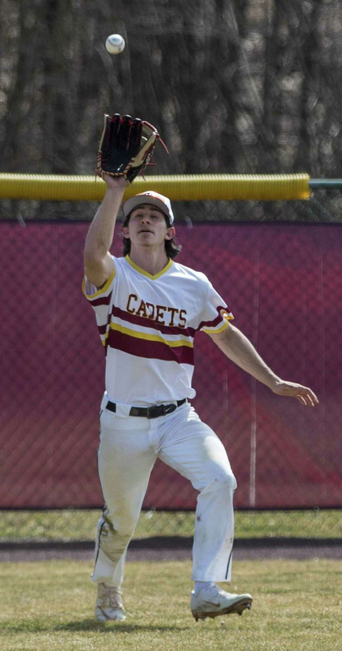 St. Joseph High School centerfielder Stephen Paolini catches a fly ball against Bethel on March 30 at St. Joseph High School in Trumbull.