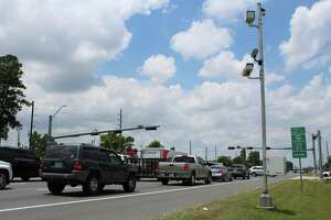 A red light camera monitors traffic at Townsen Boulevard and the FM 1960 Bypass in Humble. The City of Humble currently has 10 red light cameras in place, all still operational despite a state ban.