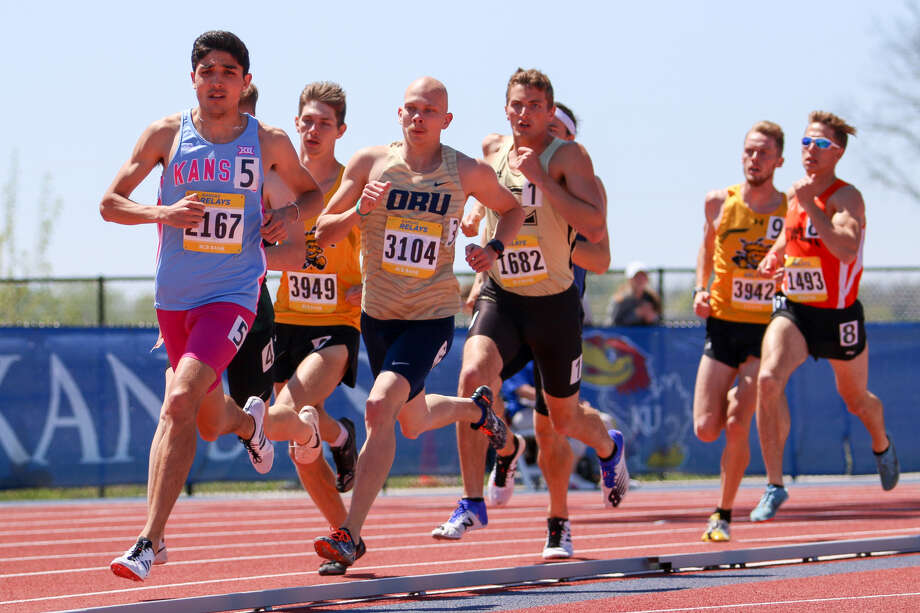 University of Kansas junior and Midland High grad Bryce Hoppel competes in the Kansas Relays in April at Rock Chalk Park in Lawrence, Kan. Photo: Courtesy Of Kansas Athletics