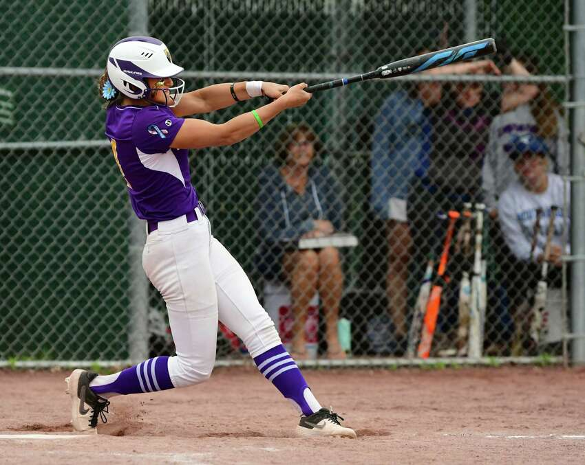 Ballston Spa's Ana Gold hits a home run over the fence during the Class A softball final against South Glens Falls at the Luther Forest Complex on Tuesday, June 4, 2019 in Malta, N.Y. (Lori Van Buren/Times Union)