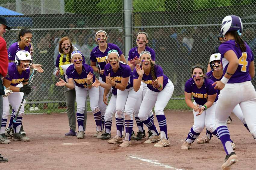 Ballston Spa's Ana Gold is welcomed at home plate after hitting a home run over the fence during the Class A softball final against South Glens Falls at the Luther Forest Complex on Tuesday, June 4, 2019 in Malta, N.Y. (Lori Van Buren/Times Union)
