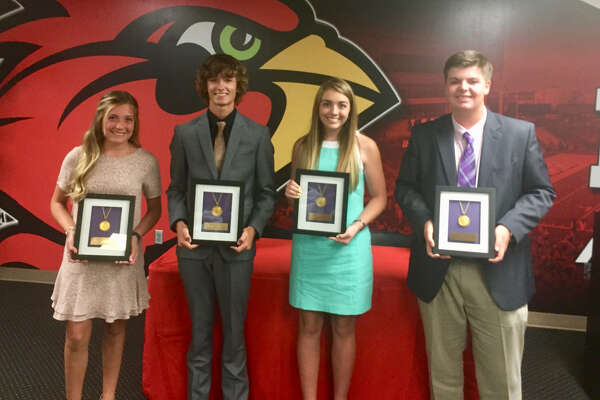 Bridge City's Cadence Underwood, Hardin-Jefferson's Brody Jeanes, Hardin-Jefferson's Elizabeth Townsend and Little Cypress-Mauriceville's Jack Burke pose for a picture after receiving awards at the 9th annual Babe Didrikson Zaharias Junior Golf Awards inside the Montagne Center at Lamar University on Tuesday night.