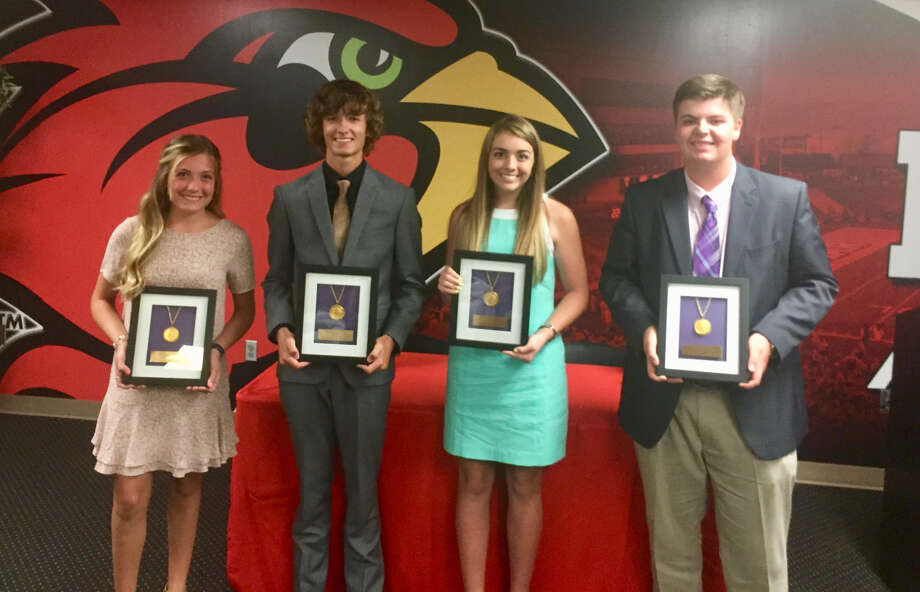Bridge City's Cadence Underwood, Hardin-Jefferson's Brody Jeanes, Hardin-Jefferson's Elizabeth Townsend and Little Cypress-Mauriceville's Jack Burke pose for a picture after receiving awards at the 9th annual Babe Didrikson Zaharias Junior Golf Awards inside the Montagne Center at Lamar University on Tuesday night. Photo: Matt Faye/The Enterprise