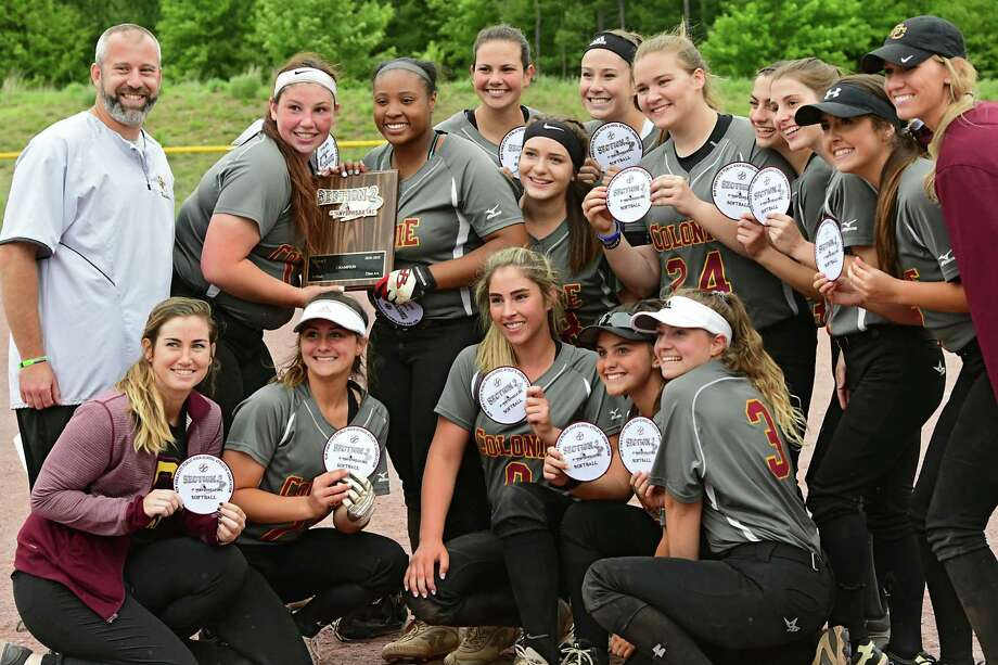 Colonie players pose with their plaque and patches after winning the Class AA softball final against Bethlehem at the Luther Forest Complex on Tuesday, June 4, 2019 in Malta, N.Y. (Lori Van Buren/Times Union) Photo: Lori Van Buren / 40047096A
