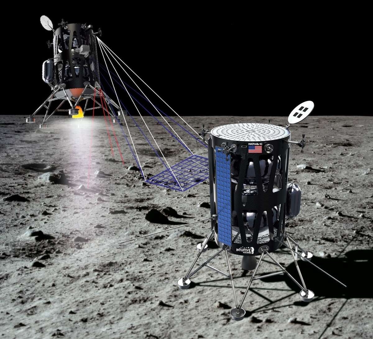Pictured is a rendering of Intuitive Machines' lunar lander. The Houston company has proposed to fly as many as five payloads to a scientifically intriguing dark spot on the Moon.