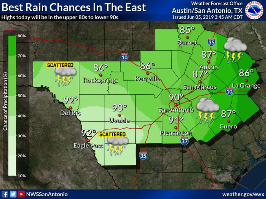 The best chances of rain for South Central Texas today look to be near and east of Interstate 35 and Interstate 37, the NWS said. Photo: NWS