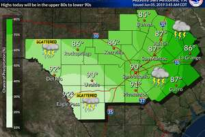 The best chances of rain for South Central Texas today look to be near and east of Interstate 35 and Interstate 37, the NWS said.