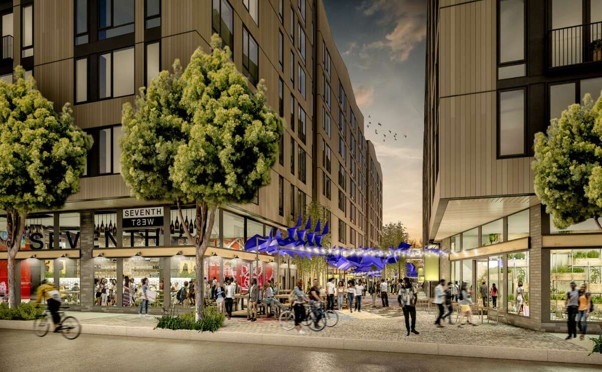The developer's proposal aims to turn the area around BART's West Oakland Station into a thriving new neighborhood of residential, retail and industrial spaces, with an emphasis on transit rather than cars.