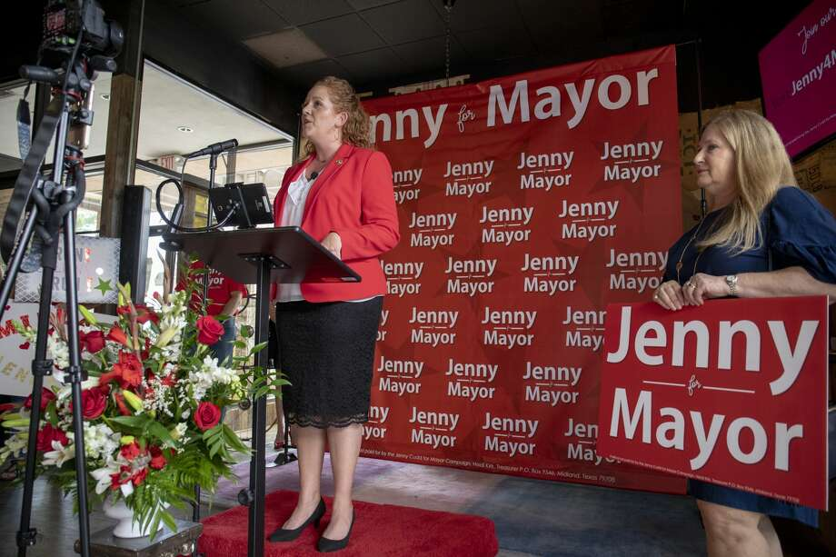 Jenny Cudd announced that she will be running for mayor of Midland on Tuesday, June 4, 2019 at Brew St. Bakery.  Jacy Lewis/Midland Reporter-Telegram Photo: Jacy Lewis/191 News