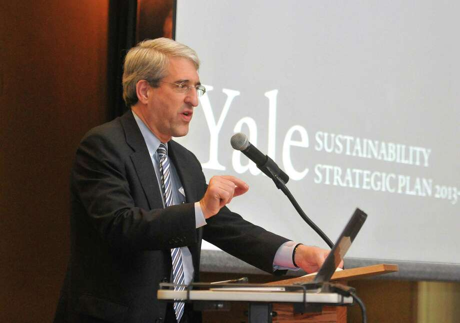 Yale President Peter Salovey speaks during a launch for the Yale sustainability plan. Photo: File Photo