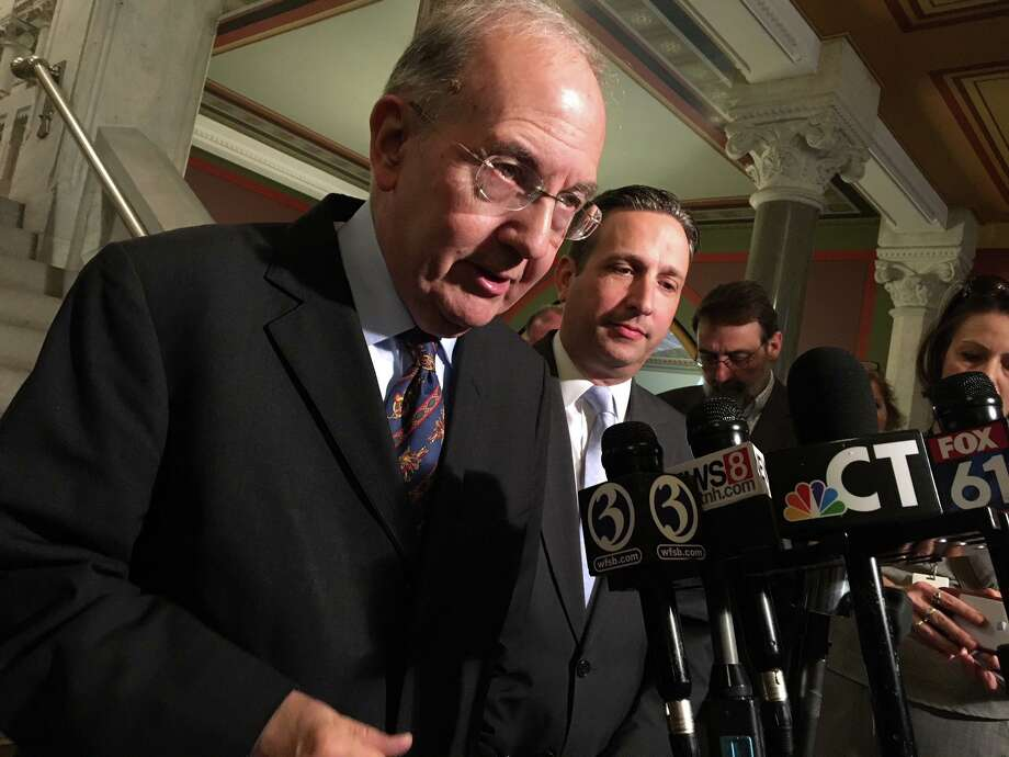 Senate President Pro Tempore Martin Looney, left, and Senate Majority Leader Bob Duff, in a file photo, on Tuesday said they were encouraged by a plan to help fund transportation improvements with trucks-only tolling on at least a dozen highway bridges. Photo: Ken Dixon / Hearst Connecticut Media / Connecticut Post