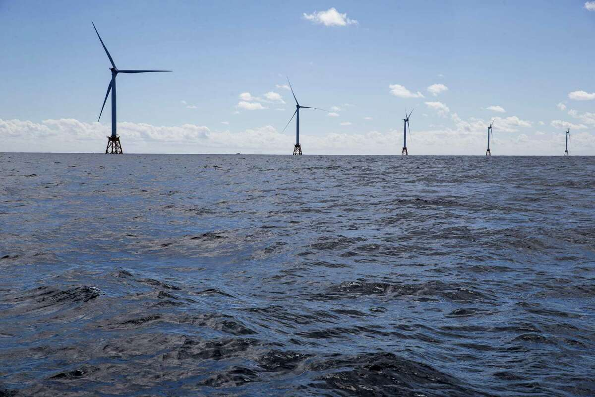 The GE-Alstom Block Island Wind Farm stands in the water off Block Island, Rhode Island.