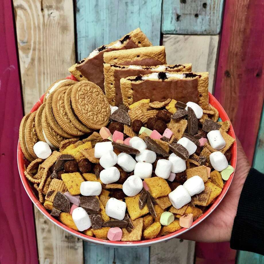 Customers will be able to build their own bowls and choose different sizes, toppings and milk options, or they can order from the menu which includes: The Campfire (pictured), Strawberry Shortcake, Horchata, Coffee Lovers and Cookie Monster bowls. Photo: Courtesy, Cereal Killer Sweets