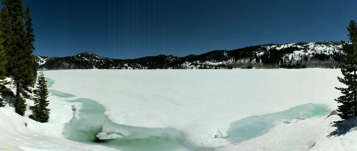 To the east of Lake Tahoe, Marlette Lake was cold and frozen on May 11, 2019.