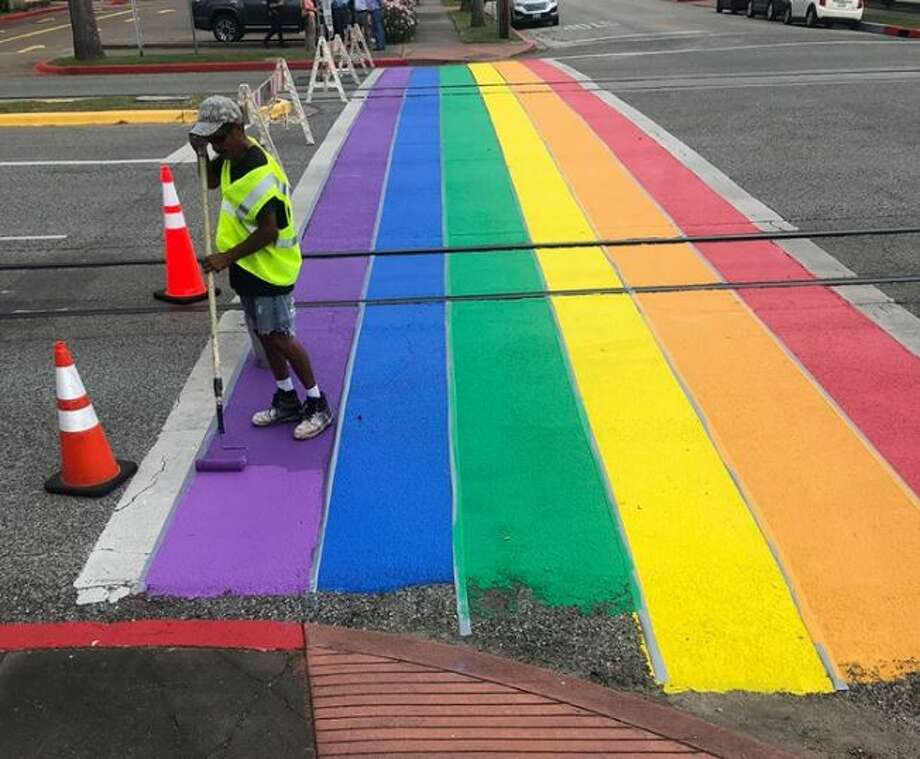 "Officials said the crosswalk is a way for the city to support Pride month and ""show Galveston is a welcoming community to all."" Photo: City Of Galveston"